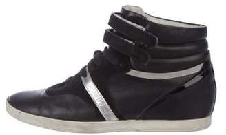 Sergio Rossi Leather Wedge Sneakers