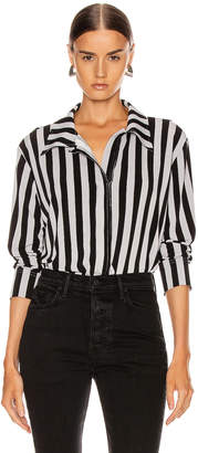 Norma Kamali Boyfriend NK Top in Grey & Black Stripe | FWRD