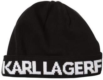 Karl Lagerfeld Logo Intarsia Cotton Knit Beanie Hat