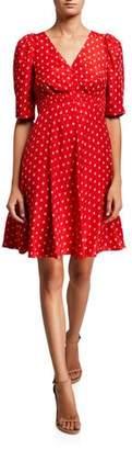 Rebecca Taylor Sunrise Dot Jacquard V-Neck Dress