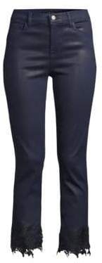 J Brand Women's Ruby High-Rise Cropped Cigarette Pants - Electric Blue - Size 24 (0)
