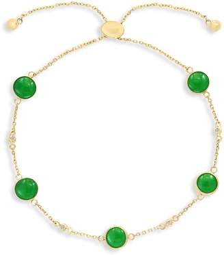 Effy 14K Yellow Gold Diamond Green Jade Bolo Bracelet