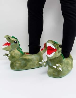 Asos Dinosaur Slippers In Green