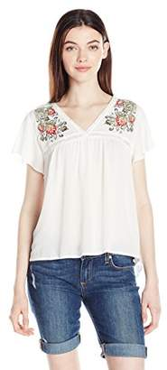 Amy Byer A. Byer Junior's Trapeze Top with Floral Embroidery