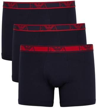 Emporio Armani Navy Stretch-cotton Boxer Briefs - Set Of Three
