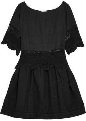 Place Nationale - Rapahel Crochet-trimmed Embroidered Cotton-voile Mini Dress - Black