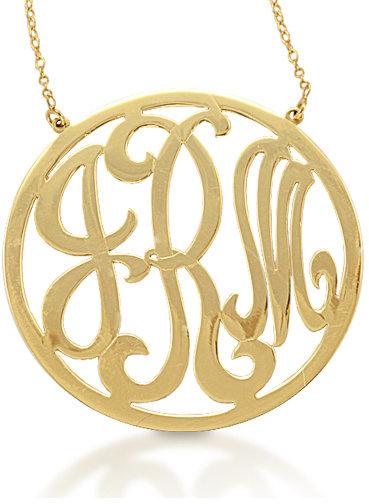 Kacey K Large Gold Circle Monogram Necklace