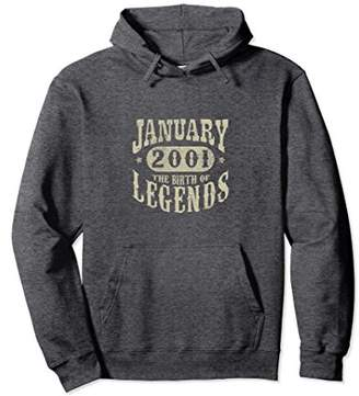 17 Years 17th Birthday January 2001 Birth of Legend Hoodies