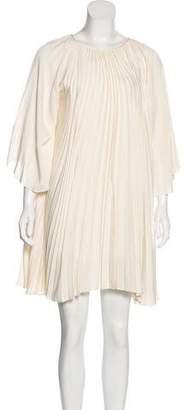Alice + Olivia Silk Pleated Kimono Sleeve Midi Dress