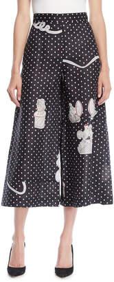 Loewe Dot-Print Wide-Leg Linen Culotte Pants