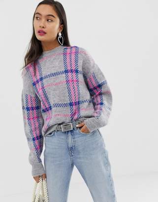 New Look sweater in neon check