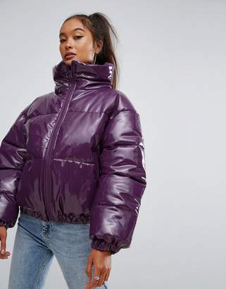 Asos High Shine Patent Puffer Jacket