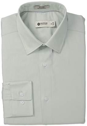 Haggar Men's End on End Solid Point Collar Regular Fit Long Sleeve Dress Shirt