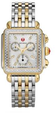 Michele Deco II Diamond, Mother-Of-Pearl& Two-Tone Stainless Steel Bracelet Watch