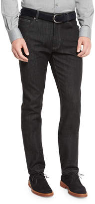Ermenegildo Zegna Five-Pocket Stretch-Denim Jeans, Black