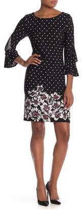 Sandra Darren Polka Dot Ruffle Sleeve Shift Dress