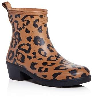 Hunter Women's Refined Leopard Print Matte Block-Heel Rain Booties