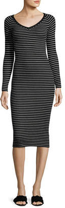 Rebecca Taylor Merino Wool Long-Sleeve Striped Rib-Knit Midi Dress