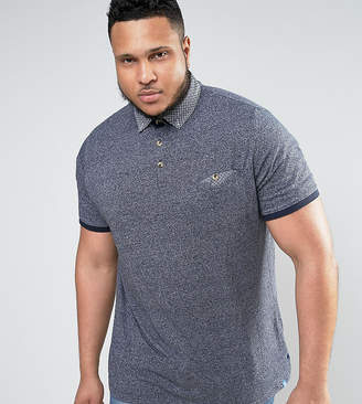Duke King Size Polo With Contrast Collar In Navy