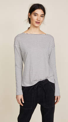 Vince Pencil Stripe Boat Neck Top