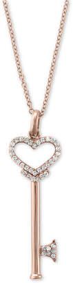 Effy Pave Rose by Diamond Diamond Heart Key Pendant (1/5 ct. t.w.) in 14k Rose Gold