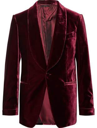 Tom Ford Burgundy Shelton Velvet Tuxedo Jacket