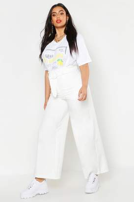 boohoo Plus Woven Round Self Buckle Wide Leg Trouser