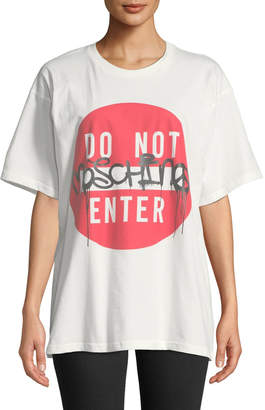 Moschino Do Not Enter T-shirt with Vinyl Decal