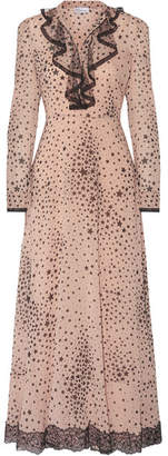 RED Valentino Lace-trimmed Printed Stretch-silk Georgette Gown - Blush