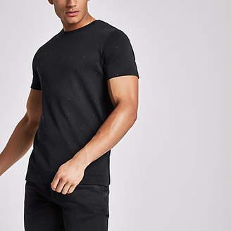 River Island Mens Black studded slim fit crew neck T-shirt