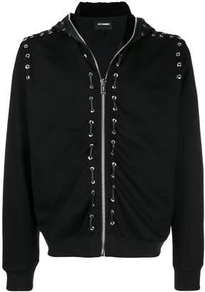 Les Hommes eyelet detail zipped hoodie