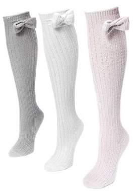 Muk Luks Women's Pointelle Bow Knee High Socks 7 x 3.5