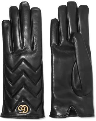 Gucci Embellished Quilted Leather Gloves - Black