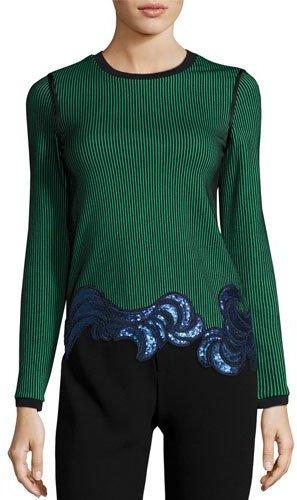 3.1 Phillip Lim3.1 Phillip Lim Long-Sleeve Embellished Ribbed Striped Top, Green/Black
