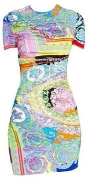 Versace Baroque Stretch Jersey Printed Bodycon Dress