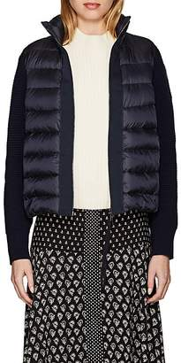 Moncler Women's Wool-Accented Down-Quilted Zip-Front Sweater
