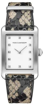Rebecca Minkoff Women's Patterned Moment Leather Watch, 25mm
