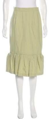 Lela Rose Pleated Striped Skirt