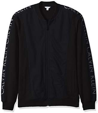 Calvin Klein Men's Long Sleeve Mesh Baseball Logo Full-Zip Jacket