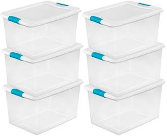 clear Sterilite 64 Quart Plastic Storage Boxes Bins Totes w/ Latches (6 Pack)