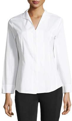 Misook Long-Sleeve Stretch-Cotton Shirt, Petite