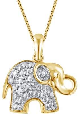 Generic Diamond Accent 14k Yellow Gold Over Brass Elephant Pendant