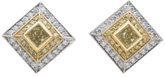 David Webb Beaudry Couture Collection 18k Yellow Gold Platinum White and Yellow Diamond Cufflinks