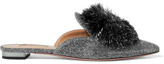 Aquazzura Powder Puff Pompom-embellished Lurex Slippers - Silver