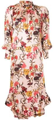 Mother of Pearl ruffle hem floral dress