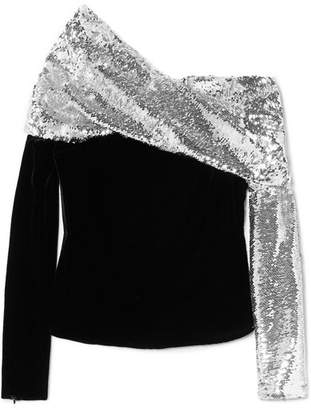Monse One-shoulder Sequined Crepe And Velvet Top - Black