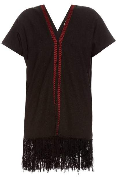 Masscob Fringed-hem silk-noil dress