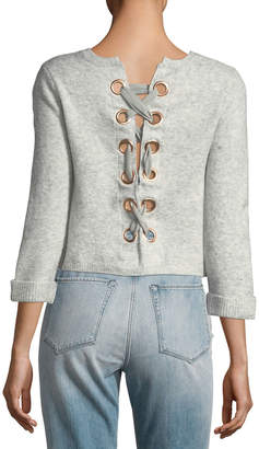 Neiman Marcus Lace-Up-Back Heather Sweater