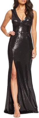 Dress the Population Sandra Plunge Sequin Evening Dress