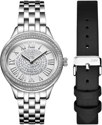 JBW J6366-SetA Silver-Tone Plaza Diamond Watch & Band Set
